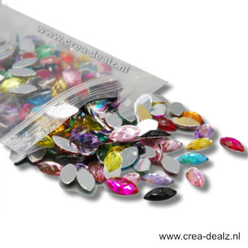 Body Jewels 5x10mm 1000 stuks multi color